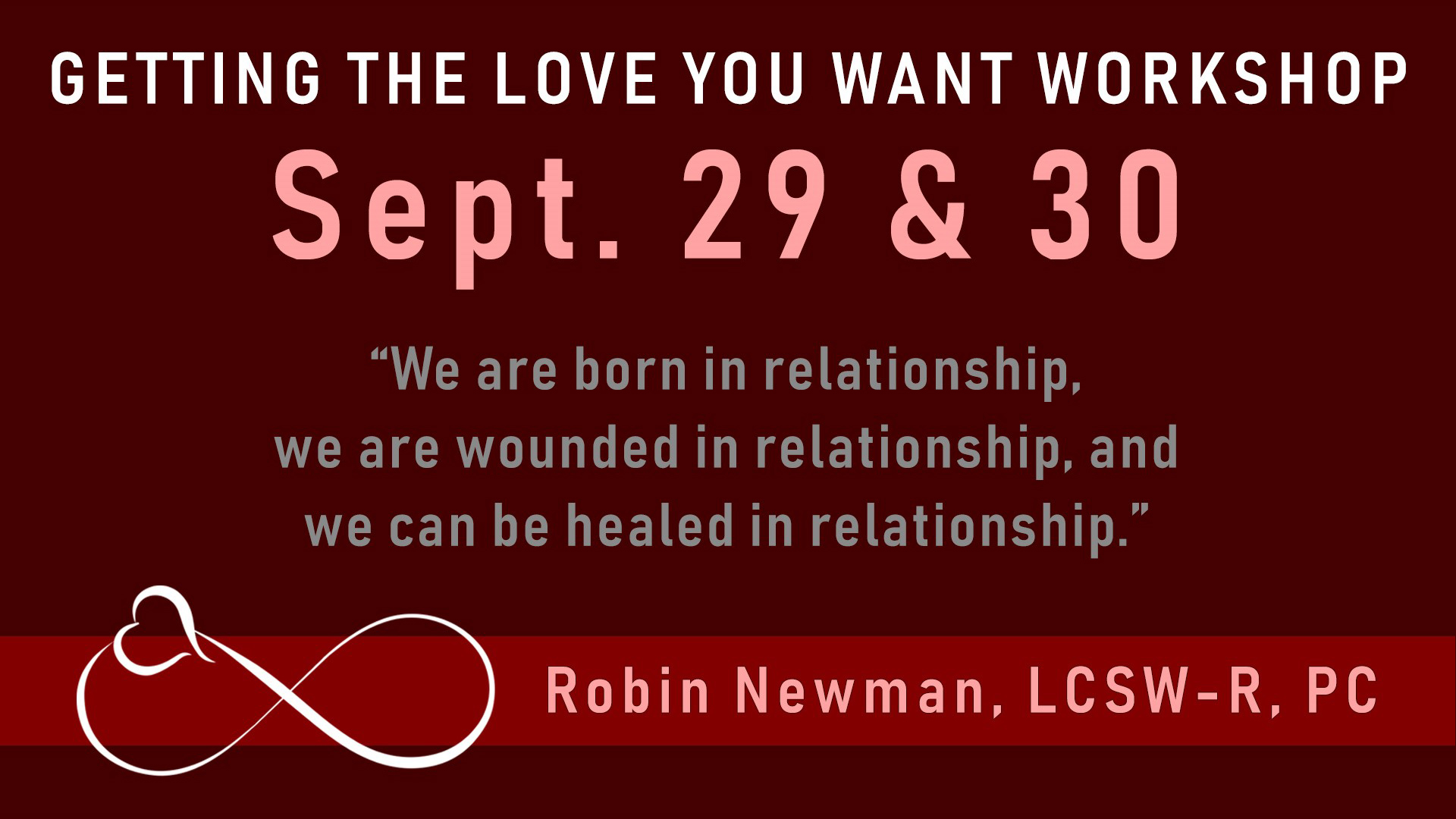 couples workshop Sept 29 & 30, 2018 Long Island