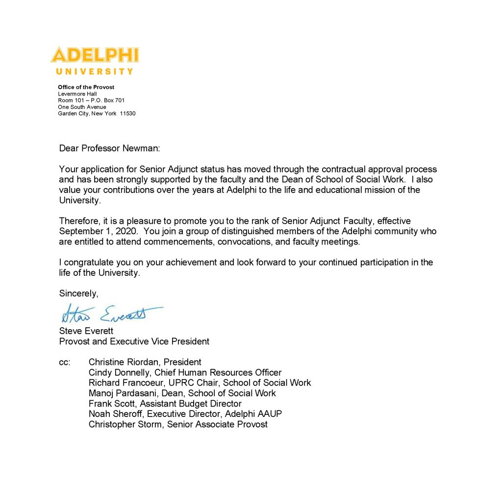 Senior Adjunct Faculty Member at Adelphi University