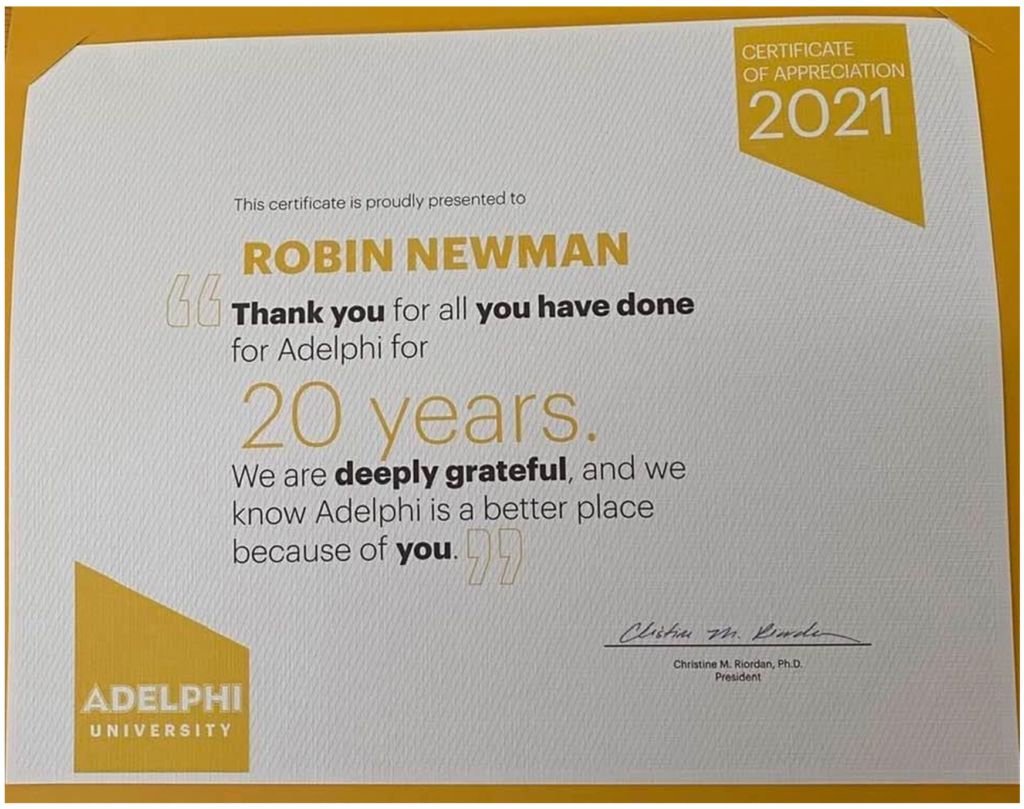 Adelphi certificate of appreciation to Robin Newman LCSW 2021